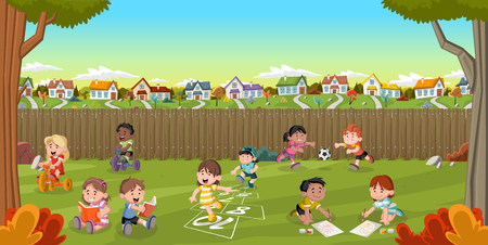 residential neighborhood: Backyard of a colorful house in suburban neighborhood with cartoon kids playing. Green park landscape with grass, trees, and houses.