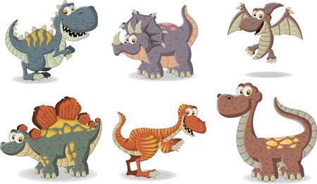 Group of funny cartoon dinosaurs.