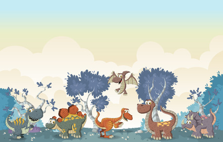 Forest with funny cartoon dinosaurs.