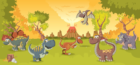 tyrannosaur: Forest with volcano and funny cartoon dinosaurs. Prehistoric nature landscape.