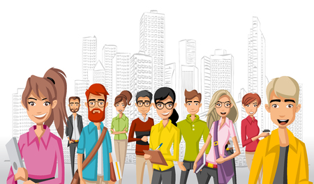 maniac: Group of cartoon business people in the city Illustration