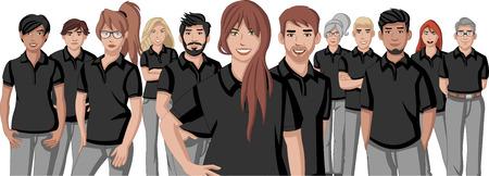 negocio dibujos jóvenes que vestían camisa de polo negro Ilustración de vector