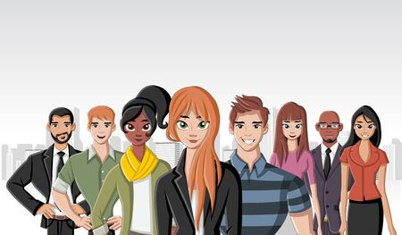 lass: Group of cartoon young business people in the city