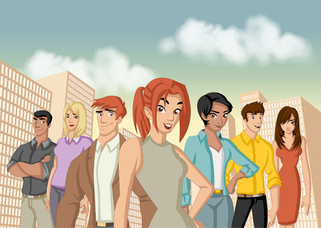 Group of cartoon young business people in the city