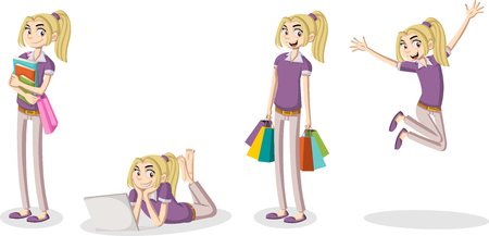 educacion sexual: De dibujos animados niña. estudiante fresco adolescente.