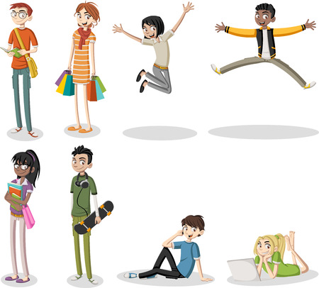 Cartoon young people. Cool teenagers.
