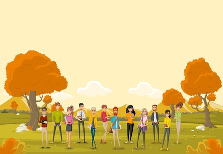 Group of cartoon business people in the orange park with grass and trees. Nature landscape. Illustration