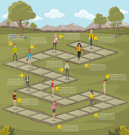 business game: Board game in green park with a group of cartoon business people. Nature landscape. Illustration