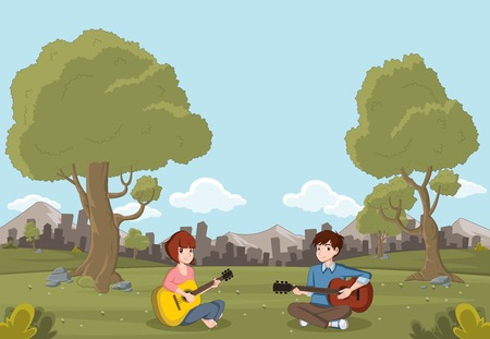 Cartoon teenagers playing guitar on beautiful park. Nature landscape. Illustration
