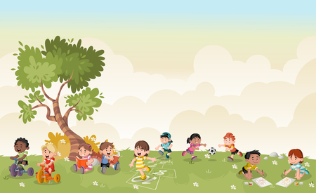 Green grass landscape with cute cartoon kids playing. Sports and recreation.