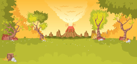 eruption: Forest with volcano, grass and trees. Prehistoric nature landscape. Illustration