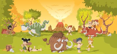 edad de piedra: Grupo de hombres de las cavernas de la historieta en el bosque con el volcán y los dinosaurios de dibujos animados divertidos. Los niños en edad de piedra.