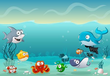 dibujos animados de pescado bajo el mar. mundo submarino con corales.