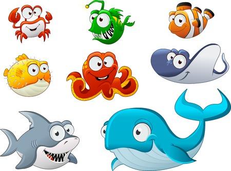Grupa zwierząt podwodnych kreskówek. Cartoon ryb pod morzem.