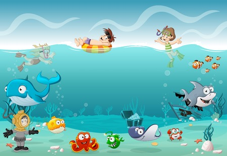 Les enfants portant Scuba combinaison de plongée et nager avec les poissons sous la mer. plongeurs Cartoon dans le monde sous-marin avec des coraux. Vecteurs