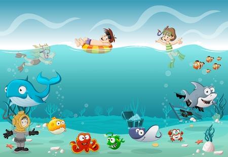 Los niños que llevaban traje de buceo y nadar con los peces bajo el mar. buzos de la historieta en mundo submarino con corales.