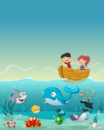 clown fish: Kids inside the boat at the ocean with fish under water. Cartoon children at the sea.