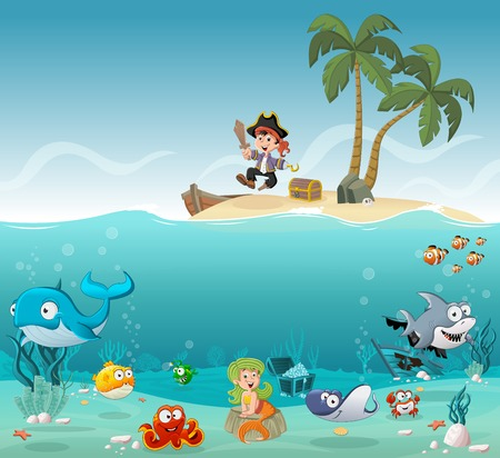 Tropical island with cartoon pirate boy with fish and mermaid under water.
