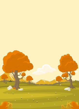 autumn scene: Orange park with grass and trees. Nature landscape. Autumn season. Illustration