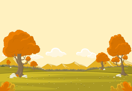 countryside: Orange park with grass and trees. Nature landscape. Autumn season. Illustration