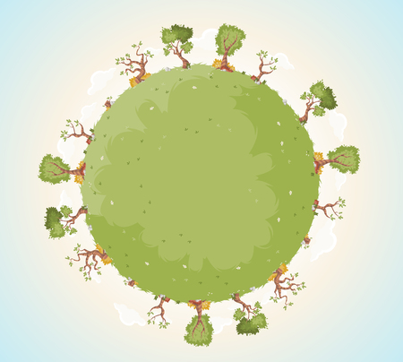 Planet earth with grass and trees. Nature background. Green world. Ilustração