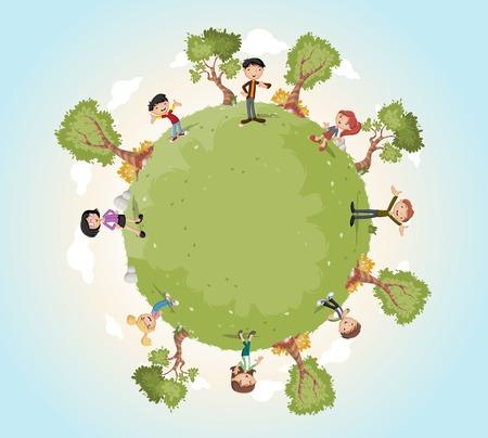 Planeet aarde met cartoon familie. Natuur achtergrond. Groene wereld.