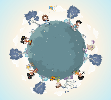 Planet earth with cute cartoon kids playing. Sports and recreation. Ilustração