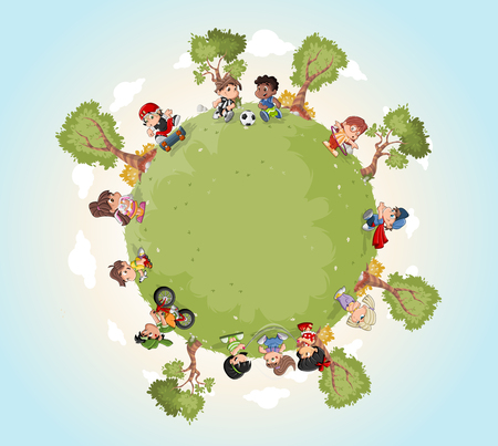 Planet earth with cute cartoon kids playing. Sports and recreation. Illustration