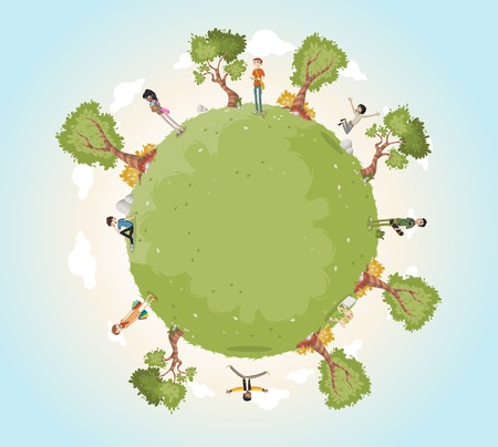 Planet earth with cartoon teenagers. Nature background. Green world. Imagens - 64364965