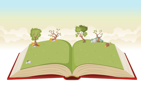 Open book with green park. Nature landscape with grass and trees. Vettoriali
