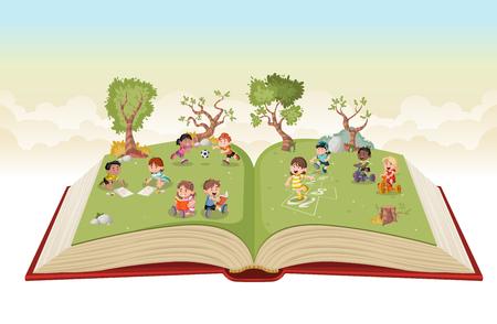 Abra el libro con los niños lindos de la historieta que juegan en parque verde. Deportes y recreación.