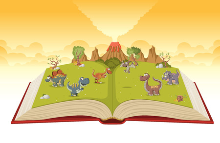 Open book with volcano and funny cartoon dinosaurs. Prehistoric nature landscape.