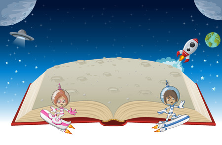 discovery: Open book with astronaut cartoon children in the space.