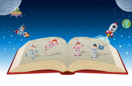 children's story: Open book with astronaut cartoon children in the space.