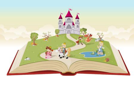 Open boek met cartoon prinsessen en prinsen in de voorkant van het kasteel.