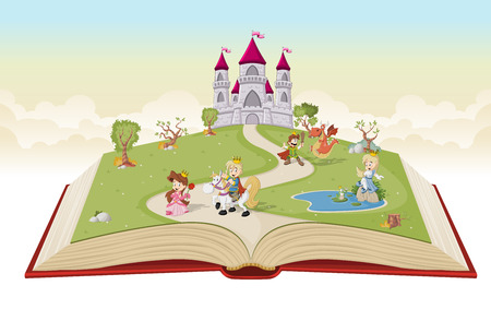 children's story: Open book with cartoon princesses and princes in front of the castle.