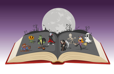Open book with full moon over the cemetery with funny cartoon classic monster characters. Halloween background.