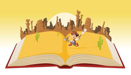 libro abierto con niño vaquero de dibujos animados galopa en Wild West Ilustración de vector