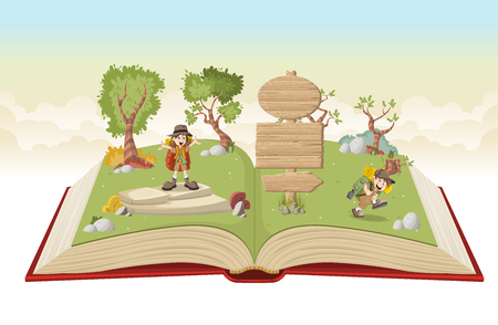 Open book with cartoon kids in explorer outfit on a green park Illustration