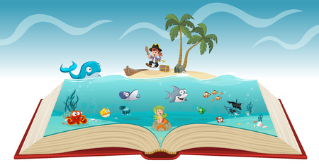 Open book with cartoon pirate boy with fish and mermaid under water.