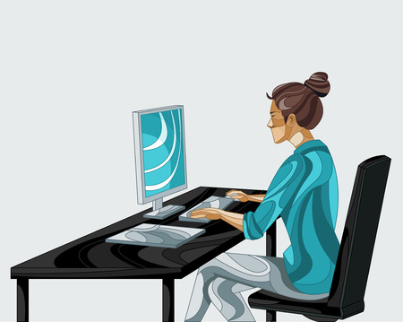 Business woman working on office desk with computer