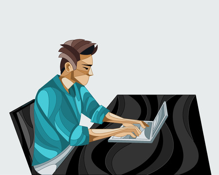 Business man working on office desk with computer