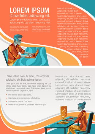 Template for advertising brochure with business people working on office desk with computer
