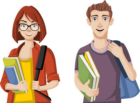 smart woman: Cartoon students. Teenager couple with backpacks and books.