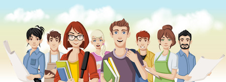 Group of young business people cartoon