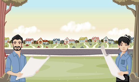 suburban neighborhood: Colorful houses in suburban neighborhood with cartoon young architects holding blueprint.