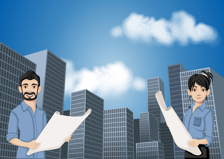 Big city landscape with cartoon young architects holding blueprint. Skyscrapers.