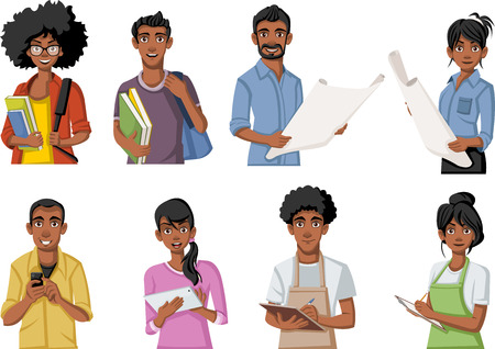 Group of cartoon black people. African teenagers. Stock Vector - 64365704