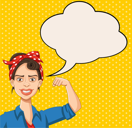 Retro strong woman talking with speech bubbles. Vintage design.