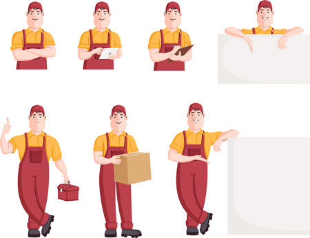 superintendent: Worker character in different actions. Cartoon repairman. Illustration